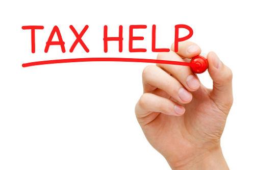 Tax Help Written in Red Marker