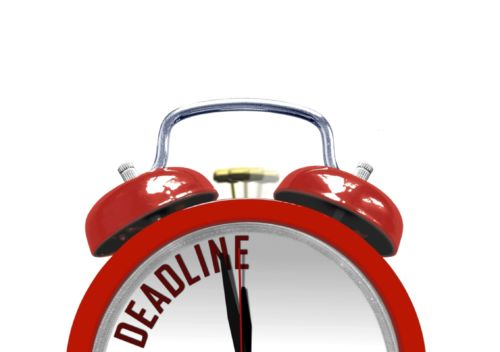 Red Alarm Clock with word Deadline