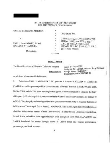 1st Page of Manafort - Gates Indictment