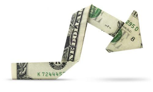 Dollar Folded into Arrow Pointing Down - Lower FBAR Penalties