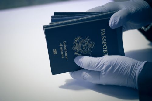 Person having American passport for inspection